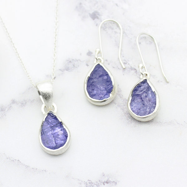 Tanzanite Gemstone Silver Pendant and Earrings Set