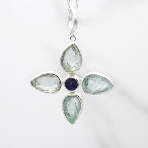 Handmade Aquamarine & Tanzanite Gemstone Flower Pendant Necklace
