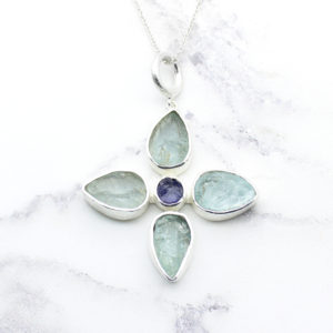 Handmade Aquamarine & Tanzanite Gemstone Flower Pendant Necklace