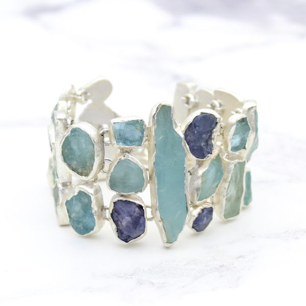 Aquamarine & Tanzanite Gemstone Statement Bracelet