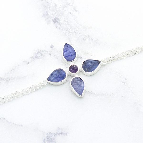 Handmade Tanzanite & Amethyst Gemstone Sterling Silver Bracelet