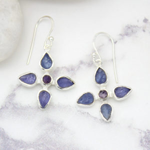 Tanzanite & Amethyst Gemstone Sterling Silver Flower Earrings