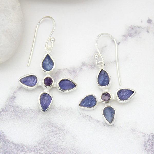 Tanzanite & Amethyst Gemstone Sterling Silver Flower Earrings