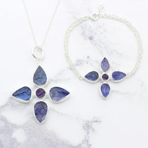 Handmade Tanzanite & Amethyst Gemstone Pendant & Bracelet Set