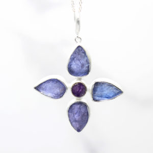 Handmade Tanzanite & Amethyst Gemstone Flower Ladies Pendant