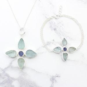 Handmade Aquamarine & Tanzanite Gemstone Pendant & Bracelet Set