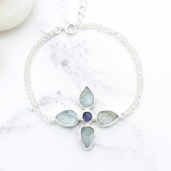 Handmade Aquamarine & Tanzanite Gemstone Sterling Silver Bracelet