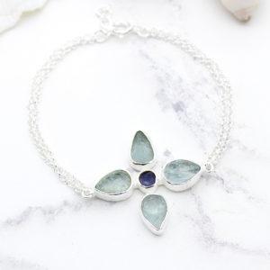Handmade Aquamarine & Tanzanite Gemstone Flower Sterling Silver Bracelet