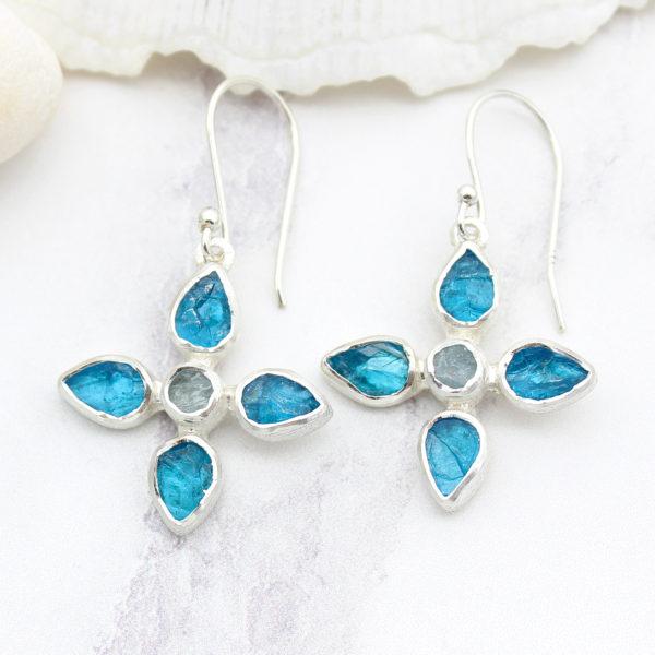 Neon Apatite & Aquamarine Gemstone Sterling Silver Flower Earrings