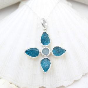 Handmade Neon Apatite & Aquamarine Gemstone Flower Pendant Necklace