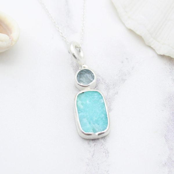 Aquamarine & Amazonite Gemstone Handmade Sterling Silver Pendant