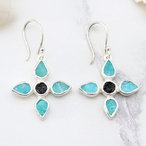 Amazonite & Black Tourmaline Gemstone Sterling Silver Flower Earrings