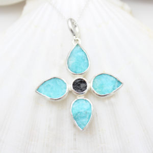 Handmade Amazonite & Black Tourmaline Gemstone Flower Pendant Necklace
