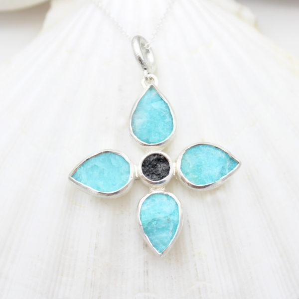 Handmade Amazonite & Black Tourmaline Gemstone Flower Pendant Necklace