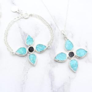 Handmade Amazonite & Black Tourmaline Gemstone Pendant & Bracelet Set