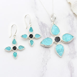 Handmade Amazonite & Black Tourmaline Gemstone Pendant & Earrings Set