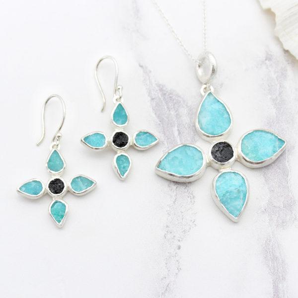 Handmade Amazonite & Black Tourmaline Gemstone Pendant & Earrings Set