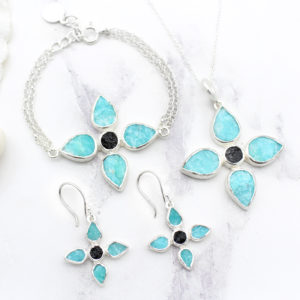 Handmade Amazonite & Black Tourmaline Gemstone Jewellery Set