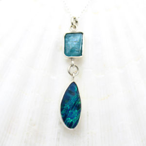 Blue Opal & Apatite Gemstone Sterling Silver Pendant