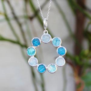 Aquamarine & Apatite Gemstone Handmade Sterling Silver Pendant