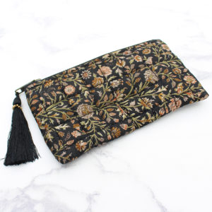Black Silk Sari Upcycled Quilted Jewellery Bag