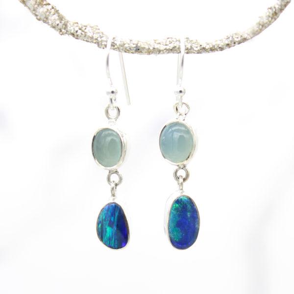 Blue Opal & Aqua Chalcedony Gemstone Sterling Silver Earrings