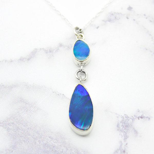 Australian Blue Opal Doublet Gemstone Sterling Silver Pendant