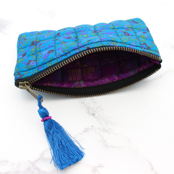 Blue Silk Sari Upcycled Quilted Jewellery Bag