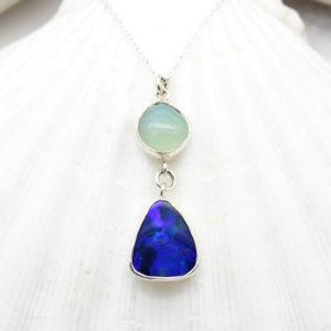 Blue Opal & Aqua Chalcedony Gemstone Sterling Silver Pendant