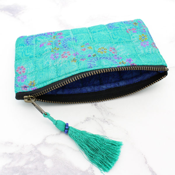 Jade Green Silk Sari Upcycled Quilted Jewellery Bag