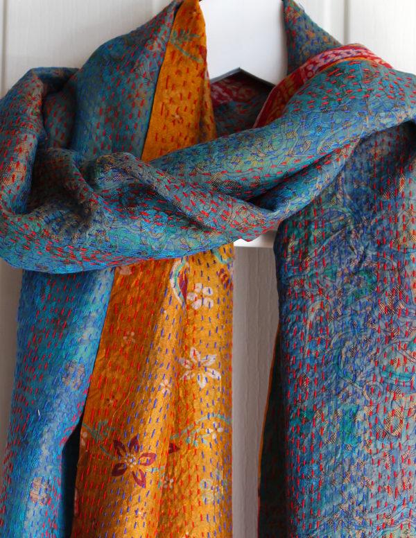 Rosa Handmade Silk Kantha Stitch Reversible Scarf S3
