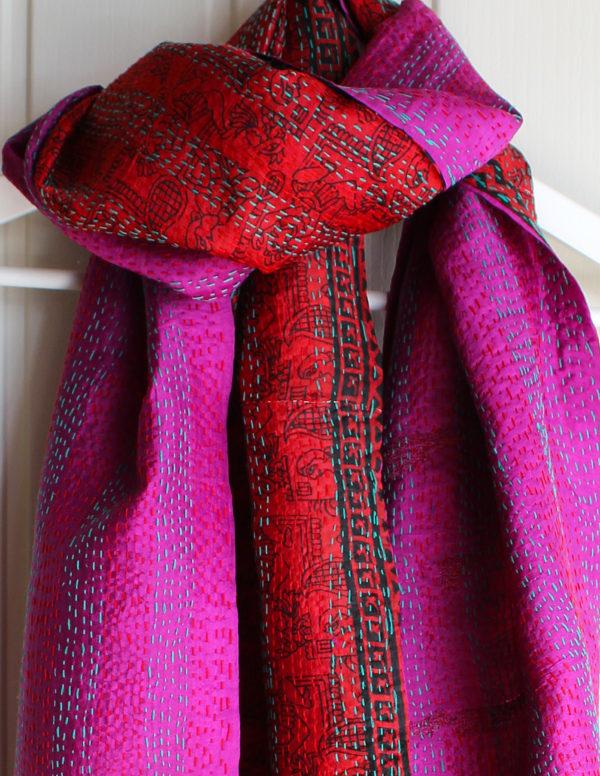 Rosa Handmade Silk Kantha Stitch Reversible Scarf S4
