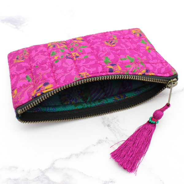 Pink Silk Sari Upcycled Quilted Jewellery Bag