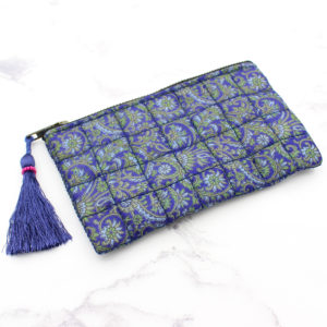 Purple & Green Print Silk Sari Upcycled Quilted Jewellery Bag