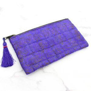 Purple Silk Sari Upcycled Quilted Jewellery Bag