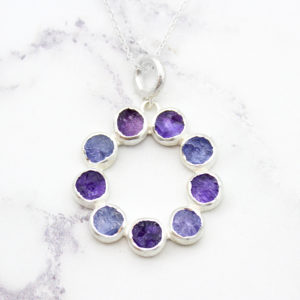 Tanzanite & Amethyst Gemstone Handmade Sterling Silver Pendant Necklace