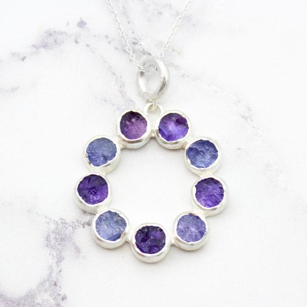 Tanzanite & Amethyst Gemstone Handmade Sterling Silver Pendant Necklace