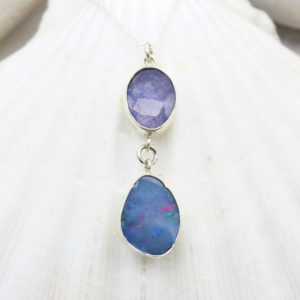 Blue Opal & Tanzanite Gemstone Sterling Silver Pendant