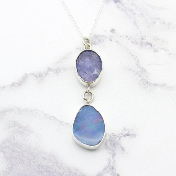 Blue Opal & Tanzanite Gemstone Sterling Silver Pendant