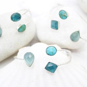 Aqua Chalcedony, Apatite & Turquoise Gemstone Silver Bangle