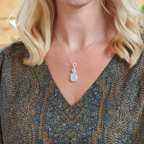 Aquamarine & Amazonite Gemstone Handmade Silver Pendant