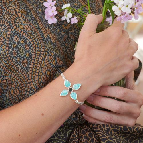 Handmade Amazonite & Tourmaline Gemstone Sterling Silver Bracelet