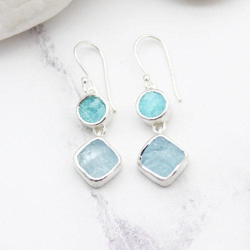 Aquamarine & Amazonite Gemstone Ladies Sterling Silver Earrings