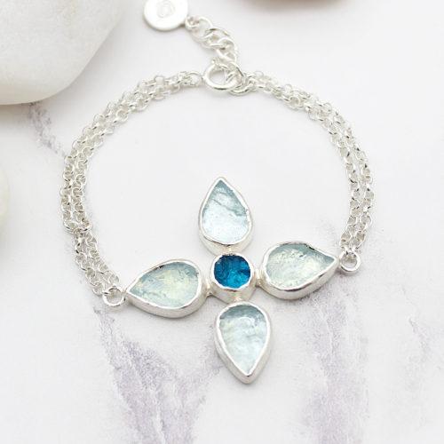 Handmade Aquamarine & Apatite Gemstone Sterling Silver Bracelet