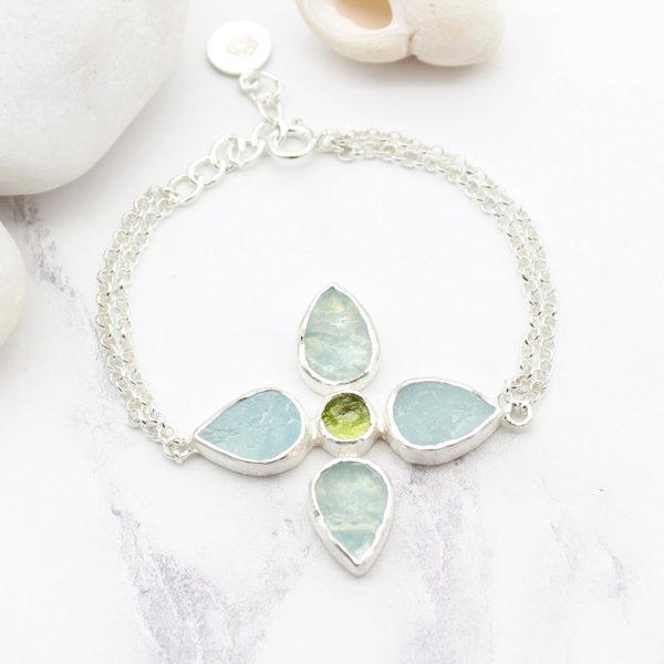 Handmade Aquamarine & Peridot Gemstone Sterling Silver Bracelet