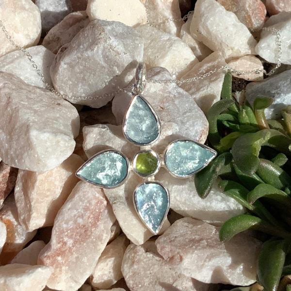 Handmade Aquamarine & Peridot Gemstone Flower Pendant Necklace