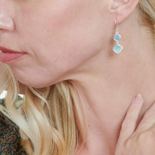 Aquamarine & Rainbow Moonstone Gemstone Ladies Sterling Silver Earrings
