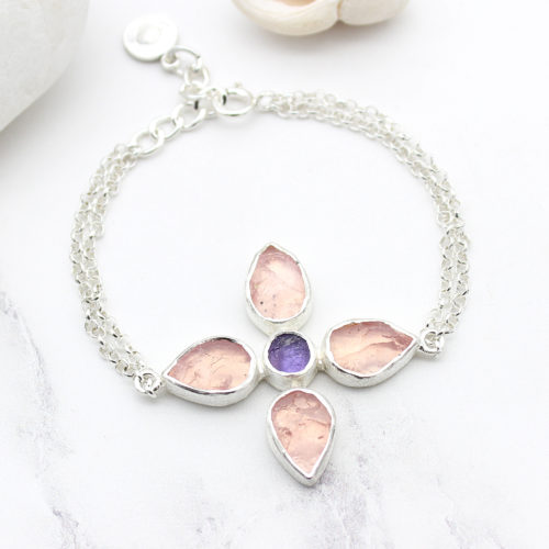 Handmade Rose Quartz & Amethyst Gemstone Sterling Silver Bracelet
