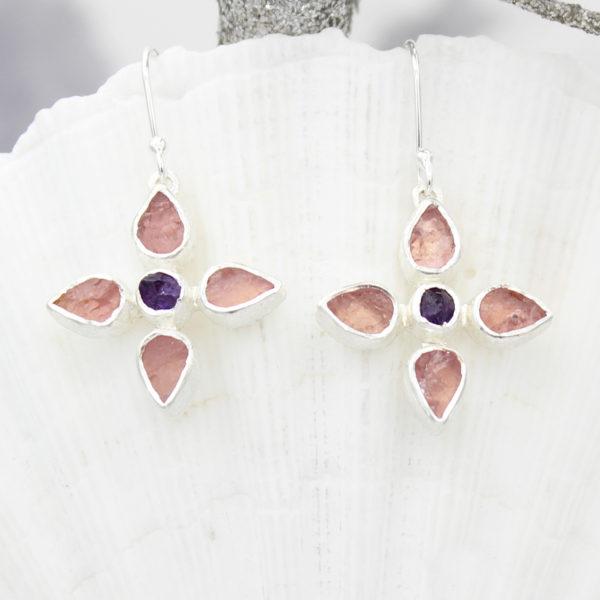Rose Quartz & Amethyst Gemstone Sterling Silver Flower Earrings