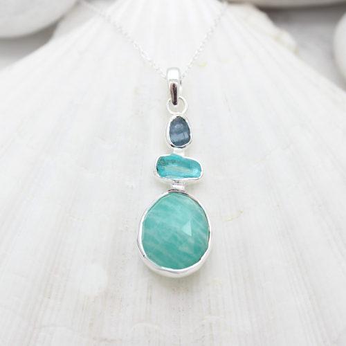 Aquamarine, Apatite & Amazonite Gemstone Handmade Silver Pendant